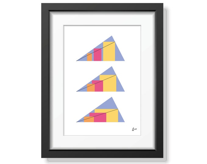 Rectangles in Triangles 06 [mathematical abstract art print, unframed] A4/A3 sizes