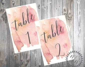 Pink Watercolor Table Numbers, Customizable, Digital Download, 4'' x 6''