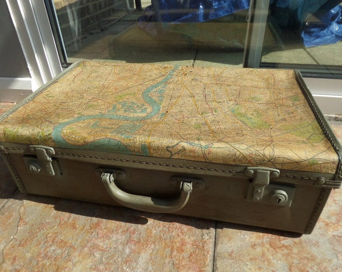 "Upcycled Suitcase, Vintage Mid Century Card Case, Plan of London, Underground 'Tube' Decoupage, Chalk Paint, Paper & Dark Wax 18"" x 11"" x 6"""