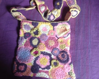 Shoulder bag, crochet, double-layer