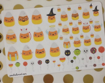 Kawaii Candy Corn Stickers, Planner Stickers, Filofax Stickers