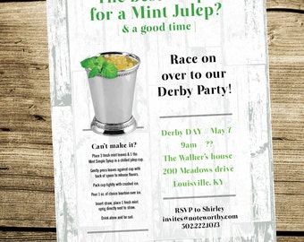 Kentucky Derby Party Invitation - Derby Party Invite - Kentucky Derby Party - Mint Julep - Julep - Horse Races - KY Derby Classic