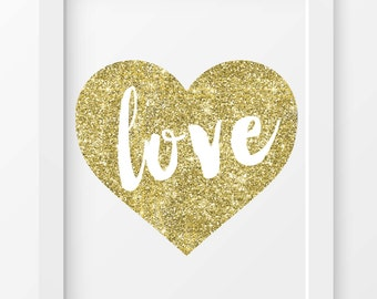 "Gold Glitter ""Love"" print, Love printable, Love wall art, Home decor, Love quote, Love typography, Wedding printable, Love heart print, Gold"