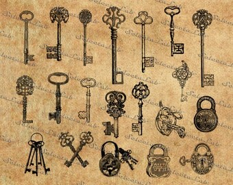 Digital SVG PNG key, antique key, medieval key, castle key, padlock, vector, silhouette, clipart, instant download