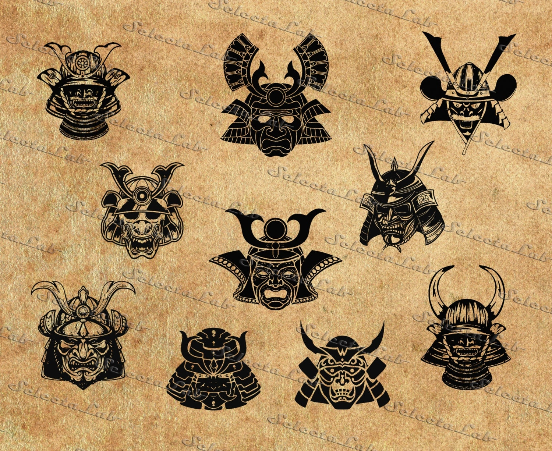 digital svg png samurai mask samurai helm samurai armor. Black Bedroom Furniture Sets. Home Design Ideas