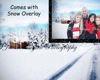 Digital snow background with snow overlay, snowy, winter, backdrop for photographers