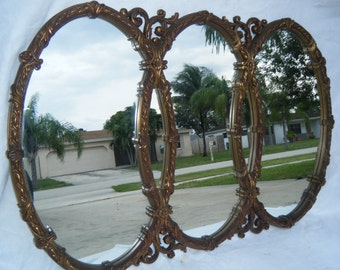 vintage extra large triple wall mirror bronze gold finish