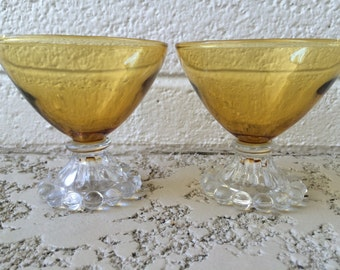 Vintage Yellow Footed Coupe Glasses