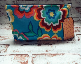 Retro Hippie Colourful Floral Make Up Bag Pencil Case Zipped Bag