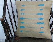 Arrow Pillow- Burlap Pillow, Lodge Decor, Woodland Nursery Decor, Tribal, Western Decor, Southwestern