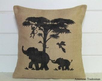 Burlap Pillow- Nursery Decor, Baby Gift, Safari, Elephant Silhouette, Jungle, Monkey,