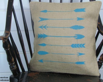 Arrow Pillow- Burlap Pillow, Lodge Decor, Woodland Nursery Decor, Tribal, Western Decor, Southwestern
