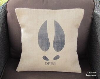 Burlap Pillow Deer Hoof Pillow Deer Pillow Woodland Nursery Lodge Decor