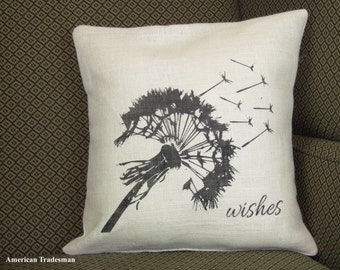 Burlap Pillow- Dandelion Wishes Pillow, Blown Dandelion, Wishes Pillow, Dandelion Decor,