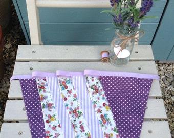 Lilac bunting/purple bunting/lavender bunting/bunting handmade/fabric bunting