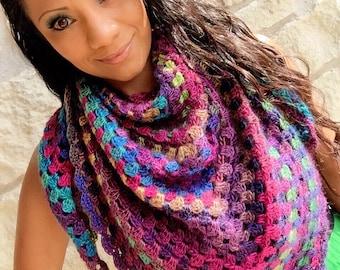 Handkerchief Scarf - Colorful Granny Square Shawl! Boutique Unforgettable