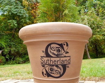 Custom Split Monogramed Name Vinyl Decal Sticker for Planter, Pots, Pictures & DIY Projects