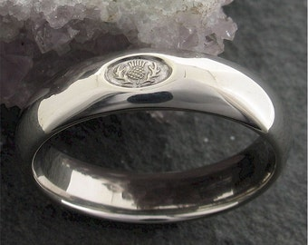 Scottish white gold wedding ring 6mm wide handmade band for a man or woman