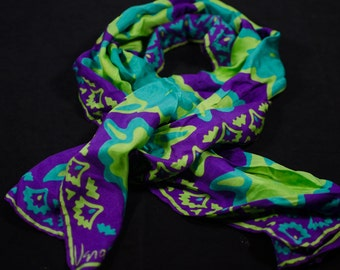 "Vintage Vera Neumann scarf purple, lime, and turquoise floral print, 14"" x 42"" long"