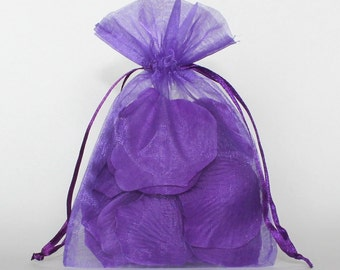 Organza Gift Bags, Purple Sheer Favor Bags with Drawstring for Packaging, pack of 50