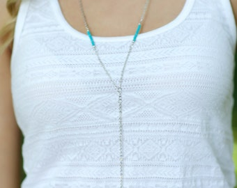 Feather Necklace, Boho Necklace, Bohemian Necklace, Turquoise Necklace, Silver Necklace