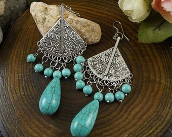 Silver and Turquoise Earrings, Gypsy Earrings, Boho Earrings, Bohemian Earrings, Silver Earrings