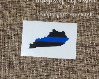 Thin Blue Line Kentucky Glossy Decal Sticker
