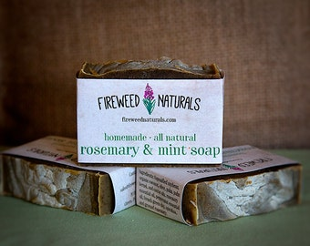 Premium, All-Natural, Rosemary & Mint Soap Bar - Vegan Friendly, Cold Process