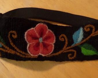 black flower embroidered headband