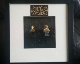 Star Wars (genuine) Lego Framed Padme and Jar Jar Binks Minifigures