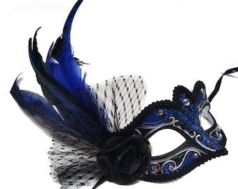 Ambrosia Dark Blue Masquerade Mask - U306