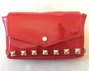 Clutch, Small purse, Red studded sparkle vinyl