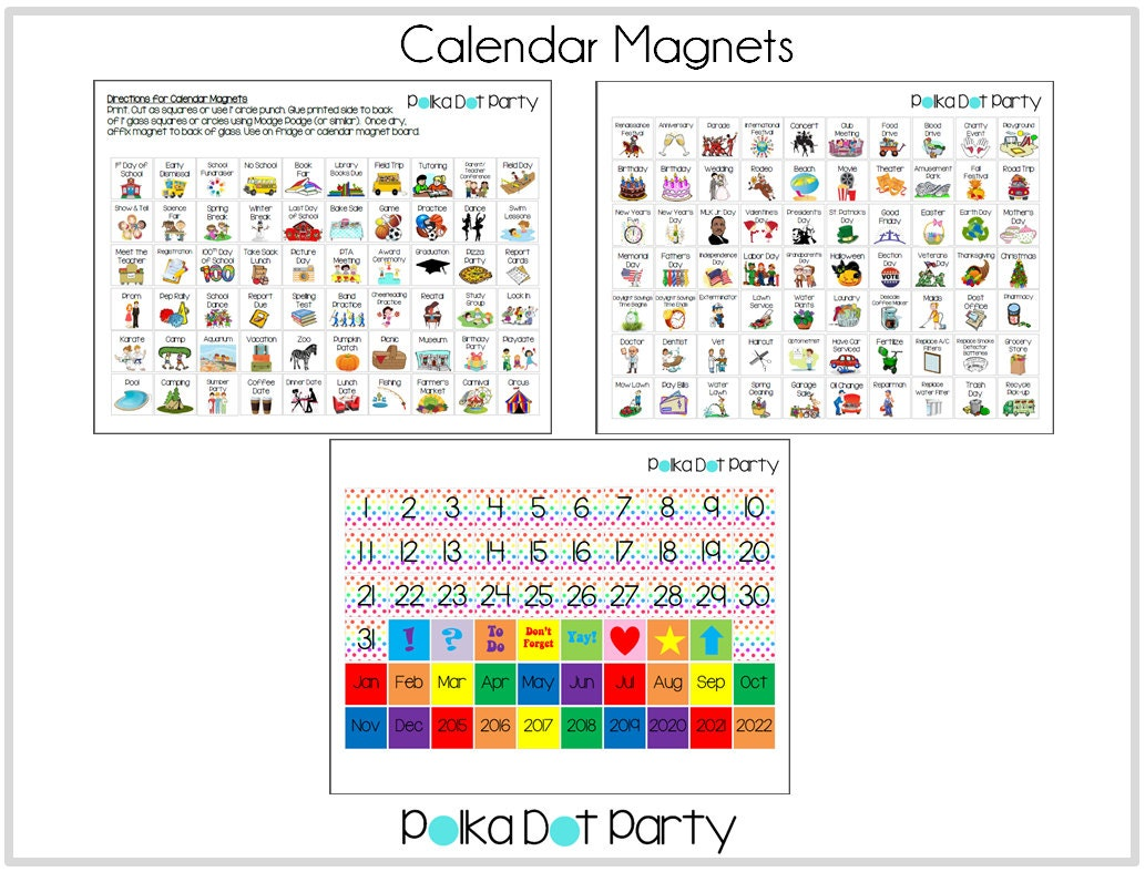 diy create your own calendar magnets printable with holidays