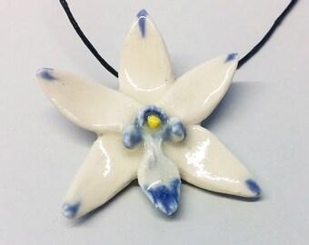 Blue Tipped Porcelain Orchid Pendant