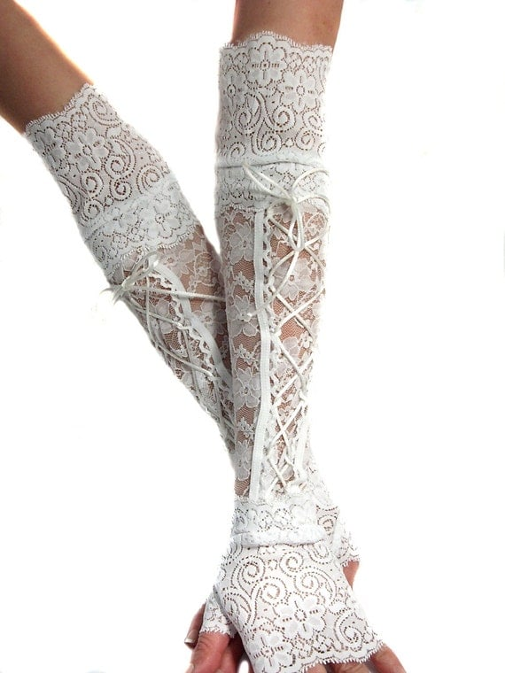 xx long white lace up fingerless gloves lace cuffs arm warmers