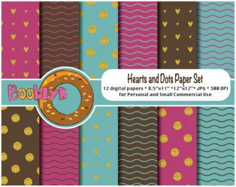Gold Hearts and Dots Paper Pack - Set of 12 Digital Papers - Instant Download