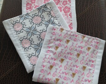 Baby Shower Gift, Burp Cloths, Baby Girls, Pink and Grey