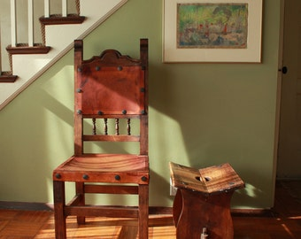 High Backed Spanish Revival Leather Side Chair