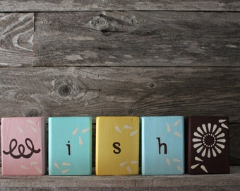 Wish Multi-Colored Blocks with Dandelion Embellishment