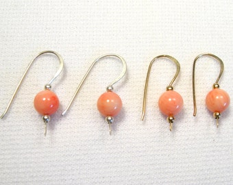 Lyn's Jewelry Coral Drop Earrings Silver or Gold