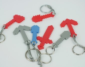 Minecraft Keychain - Shovel, Pickaxe, Axe or Sword! - 3d Printed