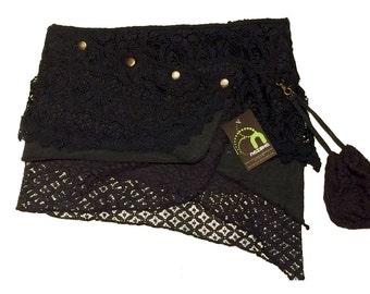 Arinya green crochet and lace skirt - Tribal roots fairy skirt - Mini pixie skirt