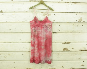 vintage 1960s tie dyed pink & gray hand dyed slip dress gown lace details S M