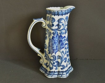 Vintage Blue and White Pitcher from Andrea by Sadek