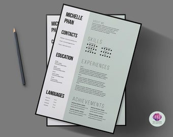 creative 1 page cv template cover letter reference letter professional resume professional