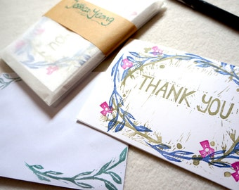 Pack Thank You card set of five (5) Floral Flowers Foliage Leaves Plants Wreath Lino cut Linoprint hand printed cards.