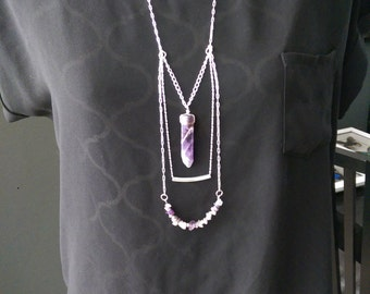 Amethyst stone multi chain necklace