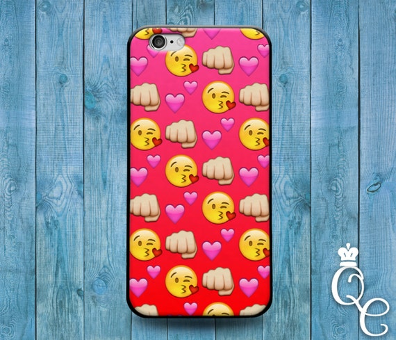 iPhone 4 4s 5 5s 5c SE 6 6s 7 plus iPod Touch 4th 5th 6th Gen Custom Phone Case Cute Girly Girl Red Emoji Heart Fist Kiss Face Funny Cover