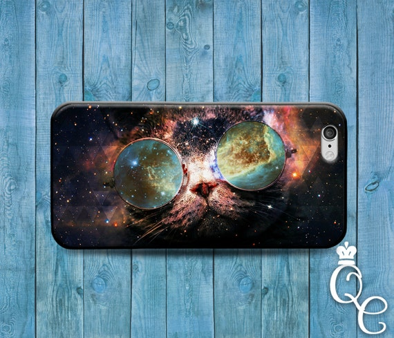 iPhone 4 4s 5 5s 5c SE 6 6s 7 plus iPod Touch 4th 5th 6th Generation Cover Cat Funny Glasses Galaxy Space Nebula Animal Kitty Cute Case