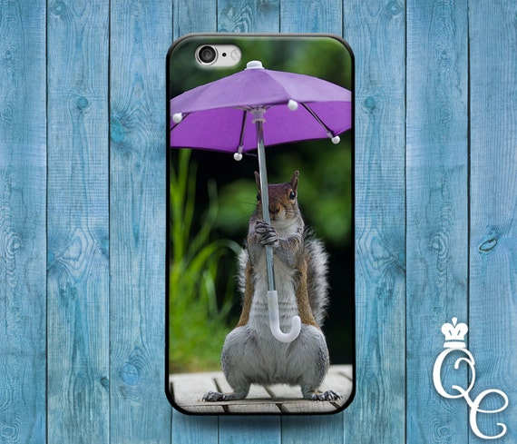 iPhone 4 4s 5 5s 5c SE 6 6s 7 plus iPod Touch 4th 5th 6th Generation Cute Baby Squirrel Girl Purple Umbrella Animal Phone Cover Funny Case